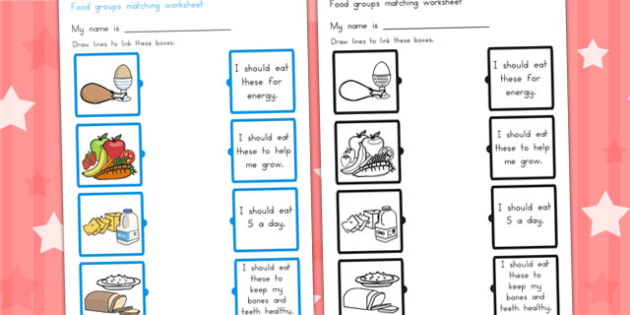 Food Group Matching Activity Worksheet - food groups, eat, health