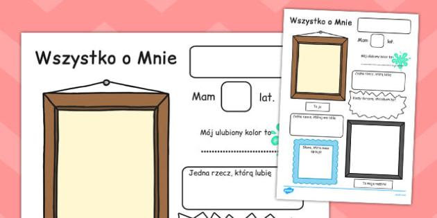 Plakaty Wszystko o Mnie po polsku - uczniowie, szkoła , Polish