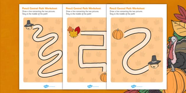 Thanksgiving Pencil Control Path - pencils, activity, activities, worksheet