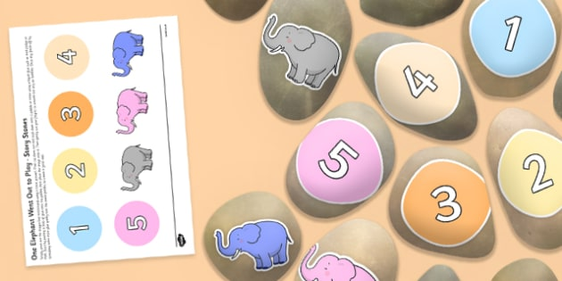 One Elephant Went Out to Play Story Stones Image Cut-Outs - Story stones, stone art, painted rocks, Nursery Rhymes, song