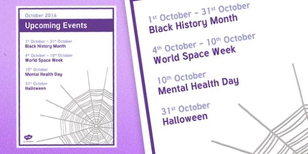 Elderly Care Calendar Planning October 2016 Overview - Elderly Care, Calendar Planning, Care Homes, Activity Co-ordinators, Support, October 2016