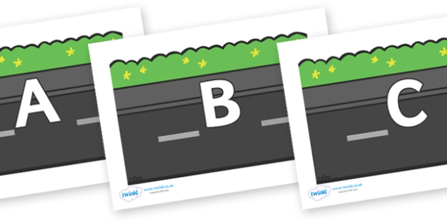 A-Z Alphabet on Roads (Plain) - A-Z, A4, display, Alphabet frieze, Display letters, Letter posters, A-Z letters, Alphabet flashcards