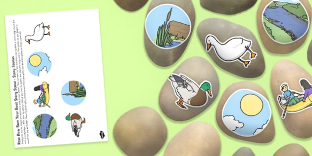 Row, Row, Row Your Boat Story Stones Image Cut Outs - Story stones, stone art, painted rocks, Nursery Rhymes, number rhymes