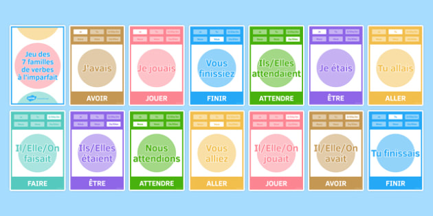 Imperfect Tense Happy Families Card Game-French