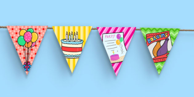 7th Birthday Party Picture Bunting - 7th birthday party, 7th birthday, birthday party, picture bunting