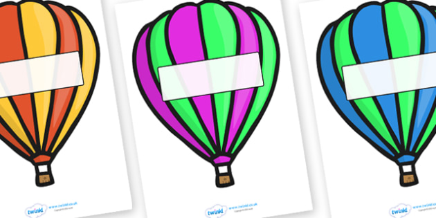 Editable Display Hot Air Balloons (Stripes) - Hot Air balloon, balloons, editable, display balloon, A4