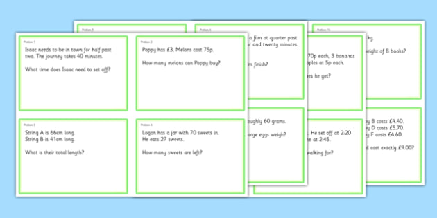 Maths Problem Cards Year 3 - maths problem cards, numeracy problem cards, maths problems, numeracy problems, maths scenarios cards, year 3 scenario cards, year 3 maths cards, year 3 different maths scenarios cards, maths question cards