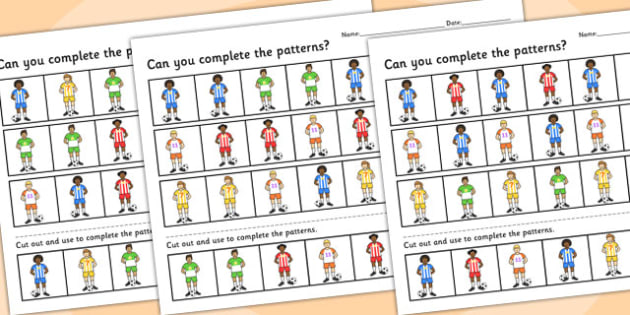 Football Themed Complete the Pattern Worksheet Differentiated