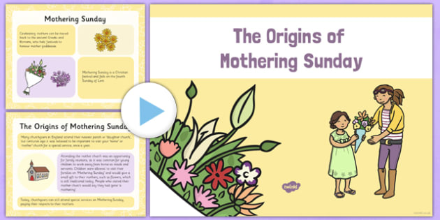 The Origins of Mothering Sunday Information PowerPoint - Mothering Sunday, Mother's Day, mother, origins, Anna Jarvis, festival, Lent, church