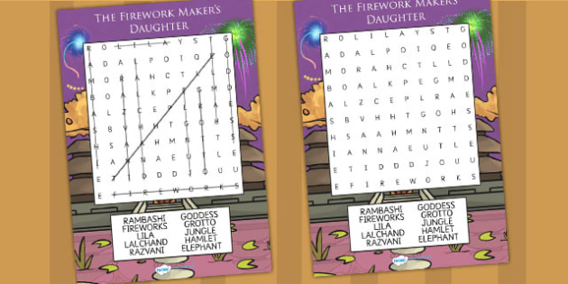 The Firework Makers Daughter Differentiated Wordsearch - myths