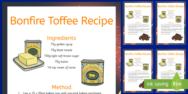 How To Make Bonfire Toffee Recipe Cards - how, make, bonfire toffee, recipe cards, cook, food
