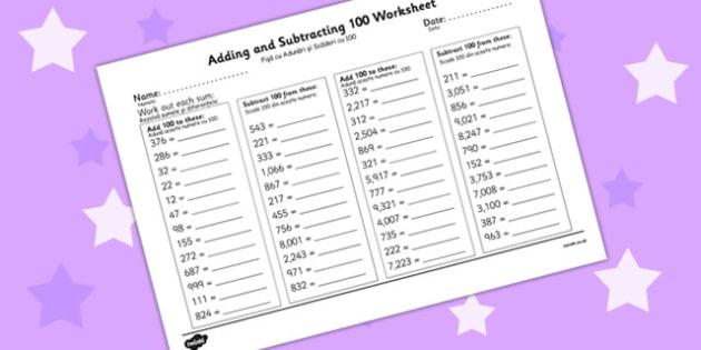 Adding and Subtracting 100 Worksheet Romanian Translation - romanian