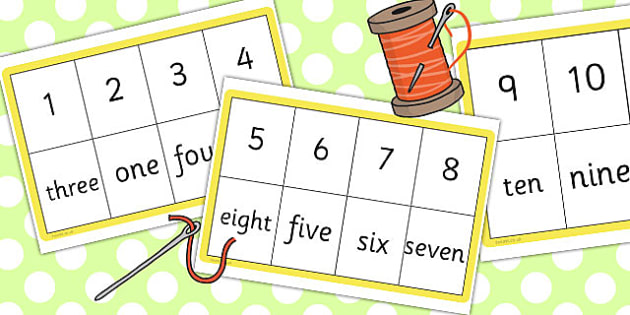 Number Spelling Matching Threading Cards 1 10 - thread, activity