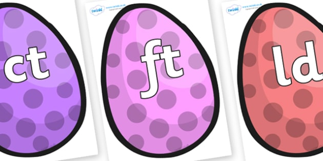 Final Letter Blends on Easter Eggs (Spots) - Final Letters, final letter, letter blend, letter blends, consonant, consonants, digraph, trigraph, literacy, alphabet, letters, foundation stage literacy