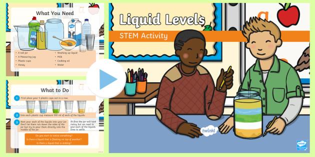 Liquid Levels PowerPoint - Make a splash! STEM KS1 Science Experiment
