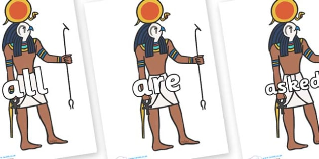 Tricky Words on Egyptian Figures - Tricky words, DfES Letters and Sounds, Letters and sounds, display, words