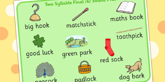 Two Syllable Final K Sound Word Mat - final k, sound, word mat