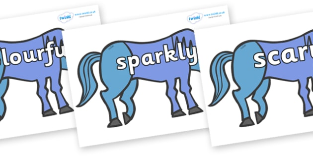 Wow Words on Blue Horse to Support Teaching on Brown Bear, Brown Bear - Wow words, adjectives, VCOP, describing, Wow, display, poster, wow display, tasty, scary, ugly, beautiful, colourful sharp, bouncy
