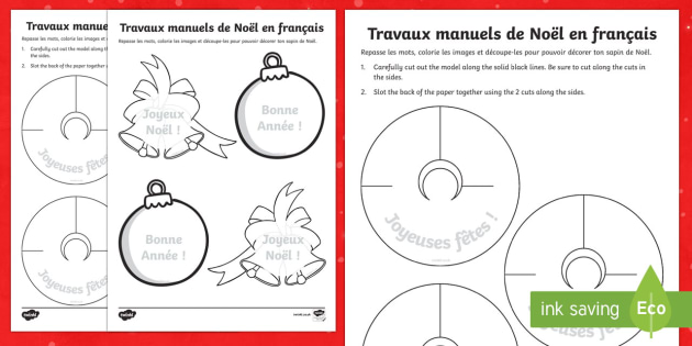 French Christmas Crafts Activity Sheets - french, christmas, crafts, activity