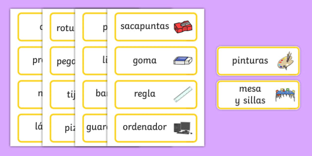 Classroom Word Cards Spanish-Spanish