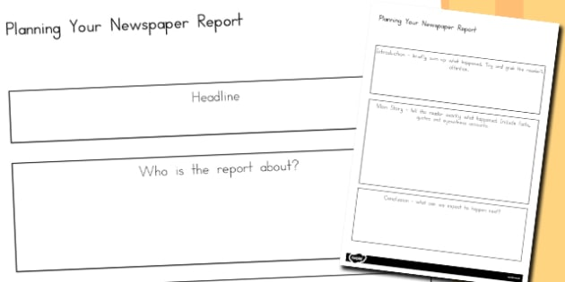 Newspaper Report Planning Worksheets - australia, newspaper