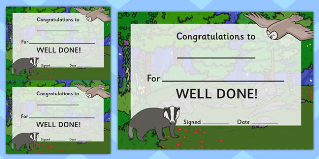 Woodland Badger Certificate - award, rewards, animals, early years, KS1, ks2, key stage 1, key stage 2, praise