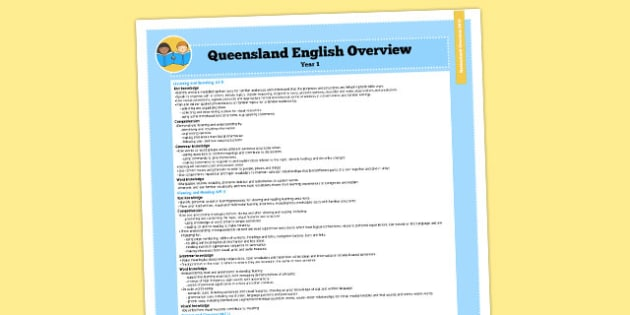 Queensland Curriculum Year 1 English Literacy Syllabus Overview - australia