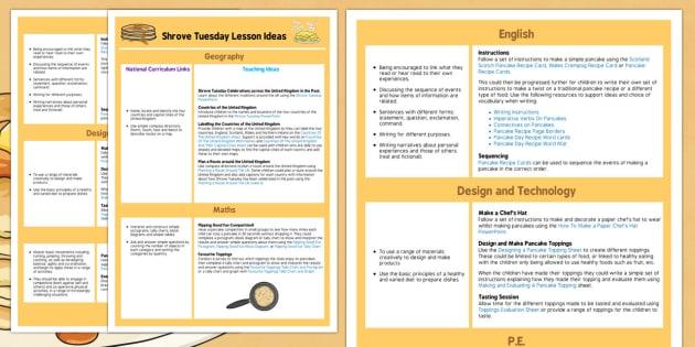 KS1 Shrove Tuesday Lesson Ideas - plan, pancakes, pancake, lessons
