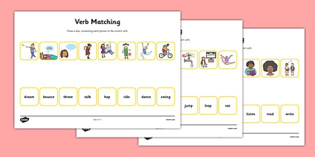 Verbs Matching Worksheet - verbs, matching, worksheet, match