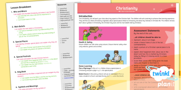 PlanIt - RE Year 4 - Christianity Planning Overview