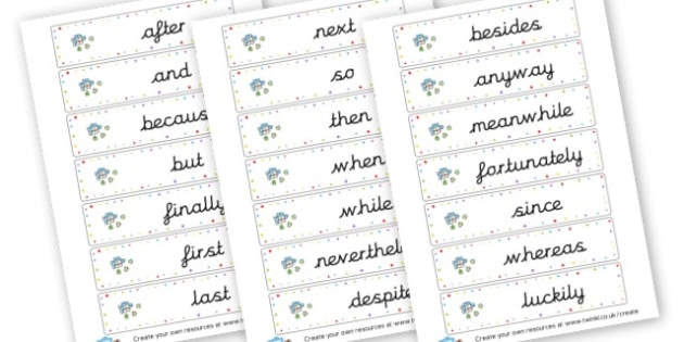 Connective Display Flashcards - Connectives Primary Resources, cll, connective, joining word, join
