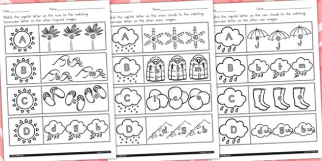 Winter Themed Capital Letter Matching Worksheet Temperate