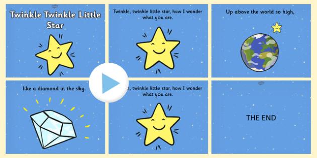 Twinkle Twinkle Little Star PowerPoint - twinkle twinkle little star, nursery rhymes, nursery rhyme powerpoint, twinkle twinkle little star song powerpoint