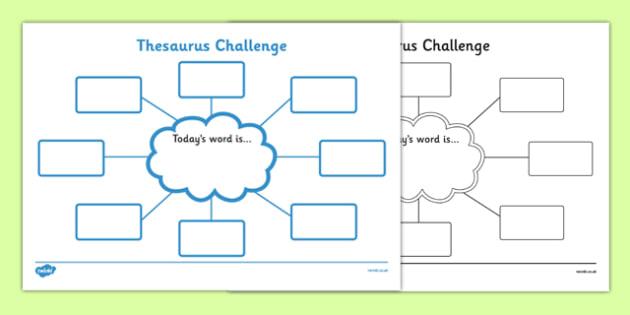 Thesaurus Challenge Worksheets - Thesaurus Challenge, Thesaurus, challenge, worksheet, work sheet, sheets, today's word, today, words, activity