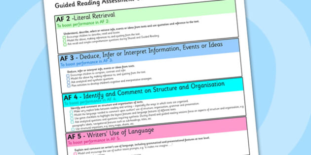 Guided Reading Assessment Guidelines A4 Sheet - guided reading, guided reading guidelines, AF, assessment focus guided reading, af checklist, af guidelines