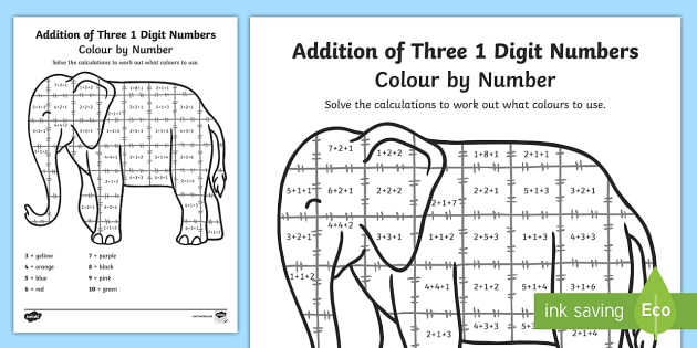 Elmer Themed Addition of Three 1 Digit Numbers Colour by Numbers Sheet - elmer, addition, three, 1 digit numbers, colour by number