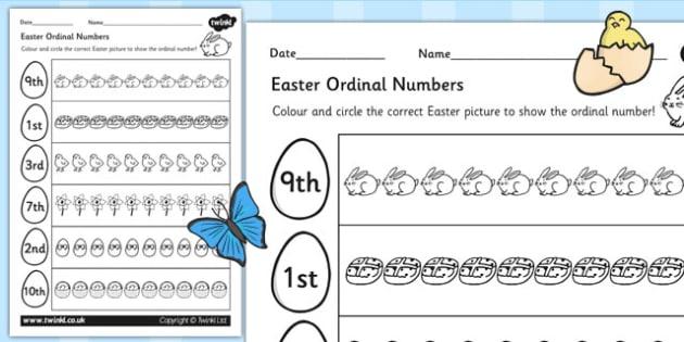 Easter Themed Ordinal Numbers Worksheet - easter, numbers, RE
