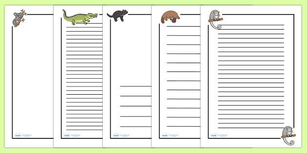 Australian Animals Page Borders - Australian animals, page border, a4 border, template, writing aid, writing border, page template, kangaroo, wallaby, kookaburra, wombat, crocodile, koala, possum