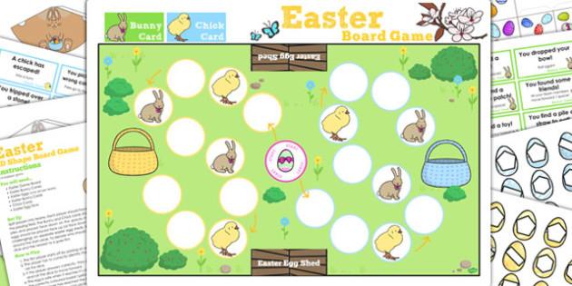 2D Shape Easter Bunny Hop Board Game - activity, activities