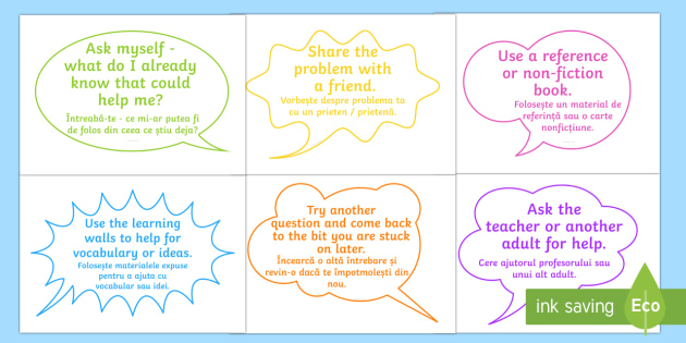 What to do When Stuck Display Speech Bubbles English/Romanian