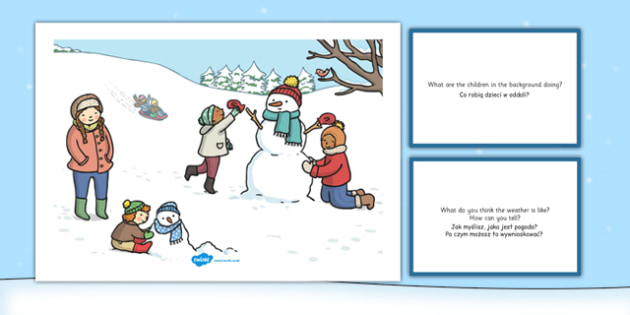 Winter Snowman Scene and Question Cards Polish Translation - polish, winter snowman, scene, question, cards
