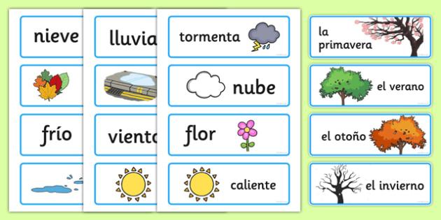 Spanish Seasons Word Cards - season, words, literacy, visual aid