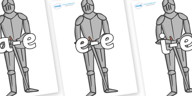 Modifying E Letters on Suits of Armour - Modifying E, letters, modify, Phase 5, Phase five, alternative spellings for phonemes, DfES letters and Sounds
