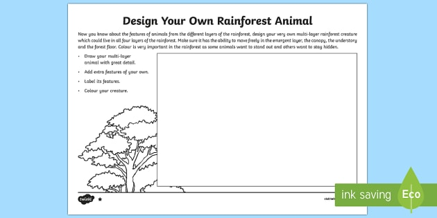 Design Your Own Rainforest Animal Read and Draw Activity Sheet - World Around Us KS2 - Northern Ireland, rainforest, adaptation, design, draw, create, adapt, camoufl
