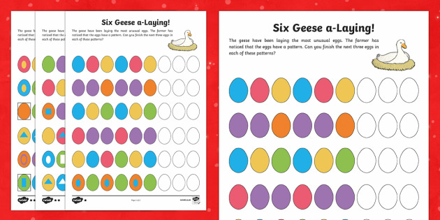 Six Geese Laying Activity Sheet