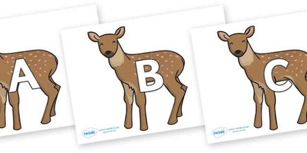 A-Z Alphabet on Fawns - A-Z, A4, display, Alphabet frieze, Display letters, Letter posters, A-Z letters, Alphabet flashcards