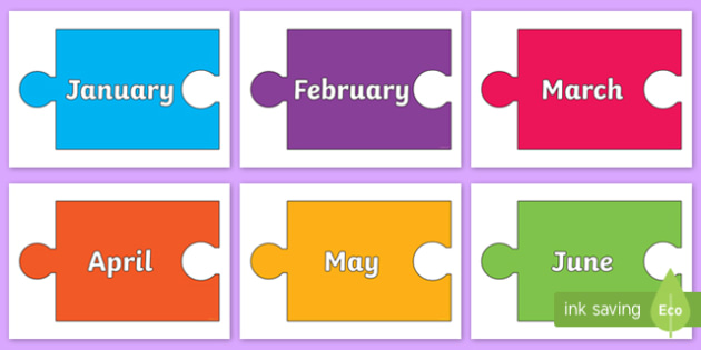 Months of the Year on Jigsaw Pieces - Months of the Year, Months poster, Months display, display, poster, frieze, Months, month, January, February, March, April, May, June, July, August, September