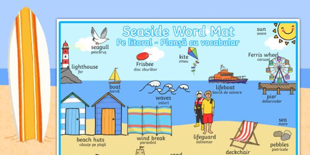 Seaside Themed Scene Word Mat Romanian Translation - romanian, seaside, at the seaside, seaside word mat, seaside scene word mat, labelled seaside scene, seaside key words, beach