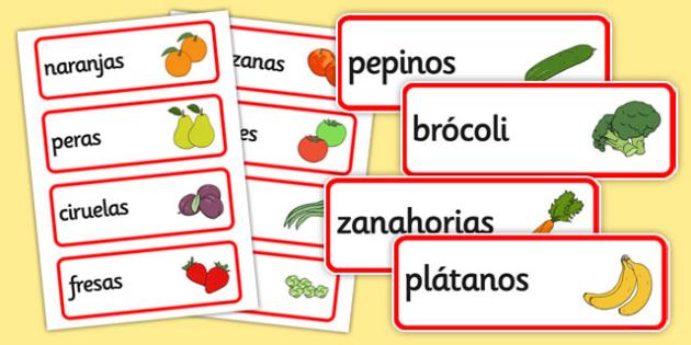 Spanish Fruit Vocabulary Cards - literacy, visual, aids, fruits