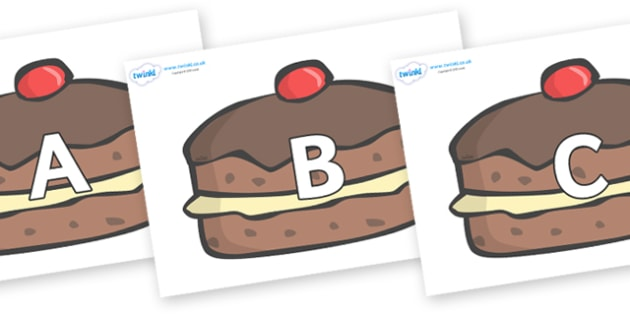 A-Z Alphabet on Chocolate Buns - A-Z, A4, display, Alphabet frieze, Display letters, Letter posters, A-Z letters, Alphabet flashcards
